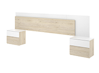 Cabezal de 236 cms + 2 Mesitas en color Madera y Blanco brillo NATURAL LIGHT