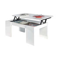 Mesa centro elevable blanco brillo modelo GRAFFIC