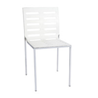 Silla metálica apilable. Carcasa ABS color blanco modelo ARTIC
