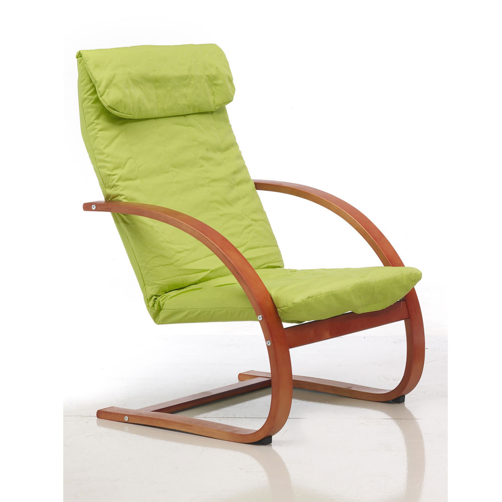 Sill n relax tapizado color pistacho for Sillon relax madera