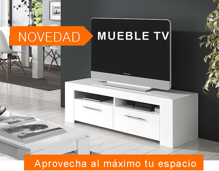 Mueble tv blanco brillo for Mueble de television moderno