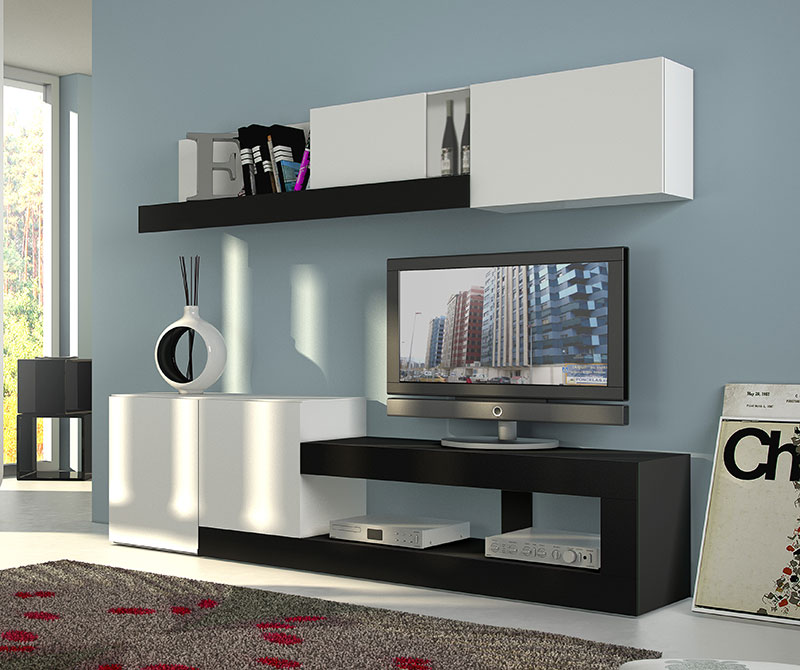 Sal n de 249 cms en color blanco y negro - Muebles salon conforama ...