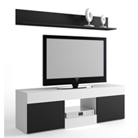 Mueble TV en color blanco y negro modelo SALOU
