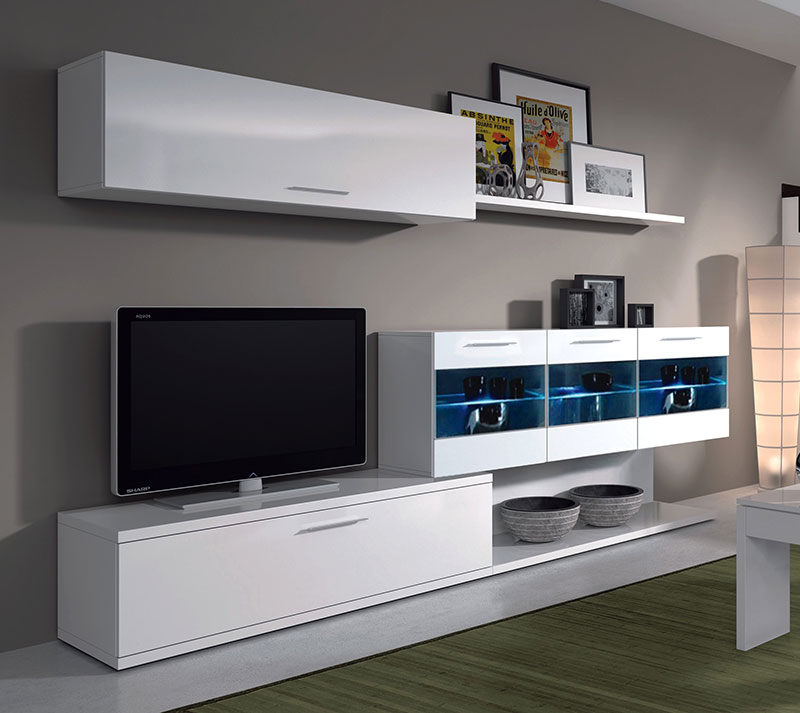 Mueble de sal n tv de blanco brillo vitrinas con leds - Muebles salon de diseno ...