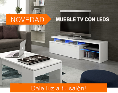 Mueble de Tv blanco con luces led