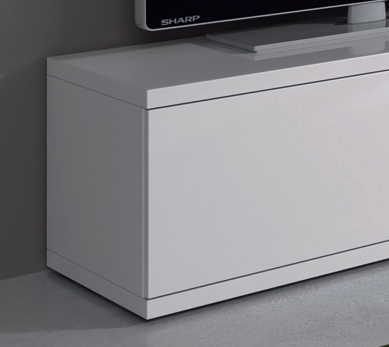 Mueble de sal n tv de blanco brillo vitrinas con leds for Mueble para tv blanco