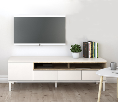 Mueble de TV de 155 cms. en color blanco y roble satinado modelo ROOMERS - OUTLET