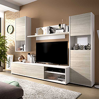 Mueble para salón TV modular color blanco brillo y gris claro modelo TRIESTE