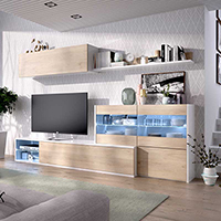 Mueble Salón TV de 260 cms. blanco brillo y frentes natural con luces leds modelo OLOT-2