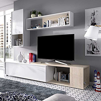 Mueble Salón TV de 180 a 230 cms. en color blanco y natural modelo TASS