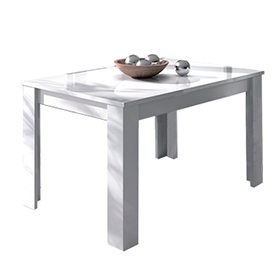 Mesa de comedor rectangular extensible en color blanco