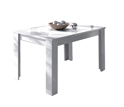 Mesa de comedor rectangular extensible en color blanco brillo modelo ICIAR