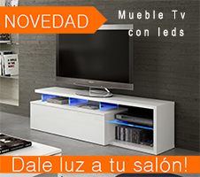 Mueble de TV blanco brillo con leds