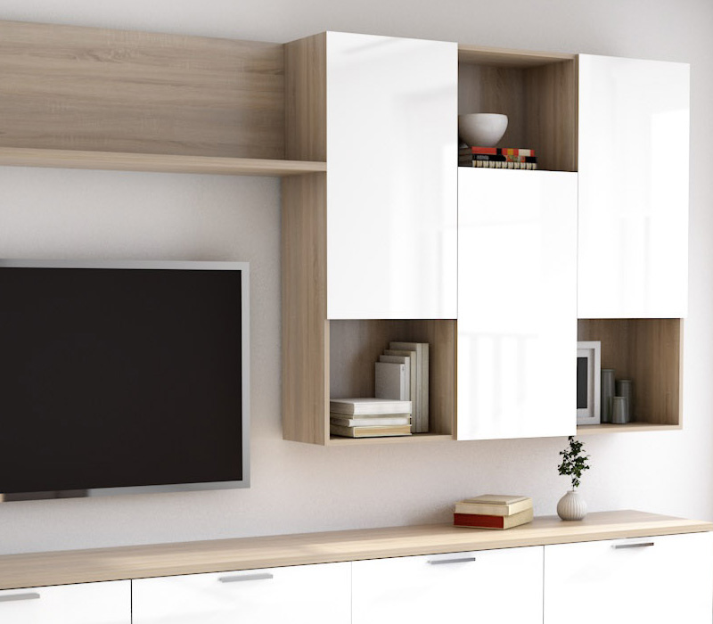 Mueble De Sal N Tv Roble Aserrado Y Blanco Brillo