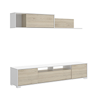 Mueble salón de 200 cms en color blanco brillo y natural SANTURTZI