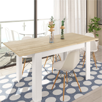 Mesa comedor rectangular extensible a 140 x 90 en color blanco y sable modelo EL PRAT